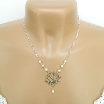 White Pearl Silver Lotus Flower Necklace Handcrafted Pendant Short Chain