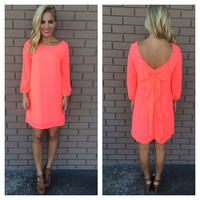 Neon Coral 3/4 Sleeve Bow Back Dress