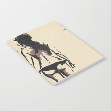 Bikini Girl - sexy conte, abstract erotic nude, kinky topless brunette at beach, hot slim naked body Notebook by Casemiro Arts - Peter Reiss