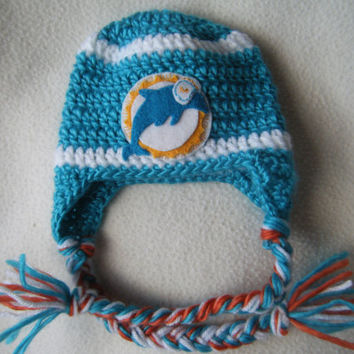 Crocheted Miami Dolphins Inspired  or (Choose your team)  Football Helmet Baby Beanie/hat - MADE TO ORDER - Handmade by Me