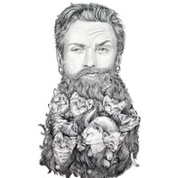 Kitten Beard Art Print by April Alayne