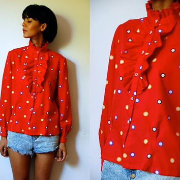 Vtg Ruffled Colorful Polka Dots Red Button Down LS Blouse
