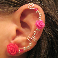 """Non Pierced Ear Cuff  """"Roses are Hot Pink"""" Cartilage Conch Cuff Some Rose COLORS are on BACK ORDER Color Choices"""