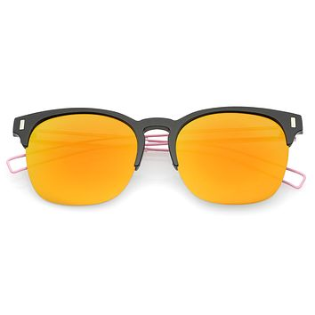 Retro Modern Wire Temple Half Frame Mirrored Flat Lens Sunglasses A777