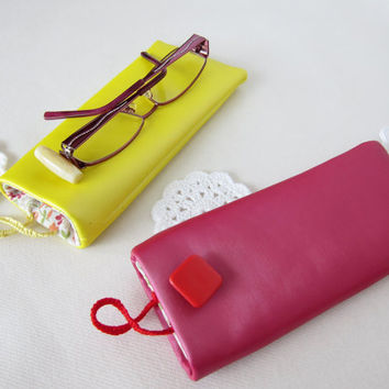 Eyeglasses case for choice yellow or fuchsia colors button closure Oil cloth pouch Gift idea for wife girlfriend sisters Mother's Day
