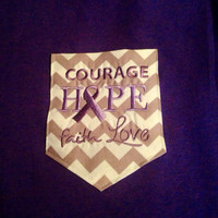 Purple Awareness Ribbon Chevron Pocket T-shirt for  Esophageal Atresia, Cancer, Alzheimer's or Cystic Fibrosis