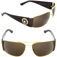 Versace VE 2163 1002/73 Rectangle Sunglasses Gold /Brown Lens