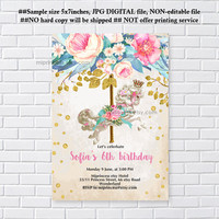 Carousel invitation, Merry go round birthday , pony vintage design for girl 1st 2nd 3rd 4th 5th 6th 7th 8th 9th 10th  circus - card 1248