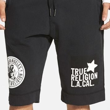 Men's True Religion Brand Jeans Multi Logo Active Shorts,