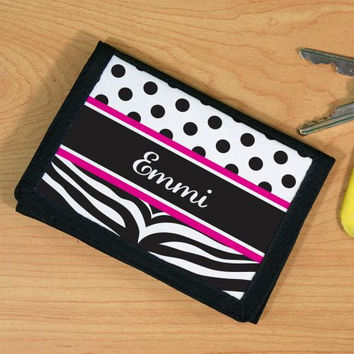 Personalized Zebra Print Children's  Wallet