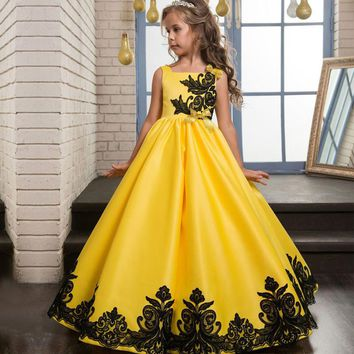Long Princess Dress Girl Wedding Party Dresses Flower Girls Lace Dress Child Girl Gown School Party Dress Cinderella Costume 14