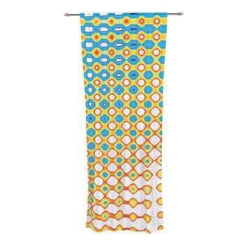 """Dawid Roc """"Psychedelic Art"""" Yellow Blue Decorative Sheer Curtain"""