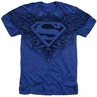 Mens DC Comics Superman Winged Logo Vintage Heather Tee Shirt