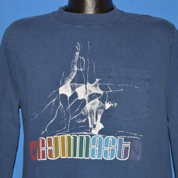70s Gymnast In Motion Rainbow Long Sleeve t-shirt Large