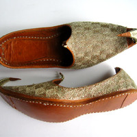 Vintage Leather Slipper Pakistan Gold Embroidery Childrens Arabian Shoes Aladdin