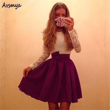 Women Autumn winter long sleeve white Lace A-line dresses Vestidos lovely girl vintage Sexy Party belt Mini dress Avsmya