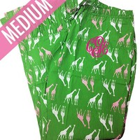 Green Giraffe Pajama Pants | Sleepwear | Marley Lilly