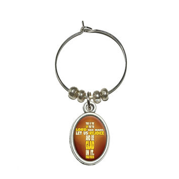 Bible Verse Cross Psalm - This is day that the Lord Wine Glass Charm