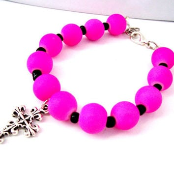 Cross Bracelet For Girls, Pink Bracelet For Girls, Hot Pink Bracelet, Cross Bracelet, Silver Cross Charm, Cross Charm Jewelry