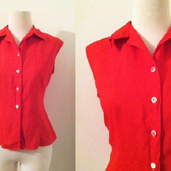 Vintage 1960s Red Sleeveless Blouse Tailortex Red Button Front Summer Top