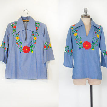 Vintage 70s Embroidered Top • Oaxaca Inspired Floral • 70s Top • Mens / Womens / Unisex • Mexican Shirt • Hippie Bohemian • Ricardo's