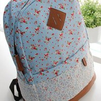 Flora Print Backpack with Lace Blue from topsales