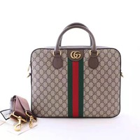 [Spot] GUCCI Gucci 2019 new autumn and winter men's webbing handbag Ophidia series GG briefcase
