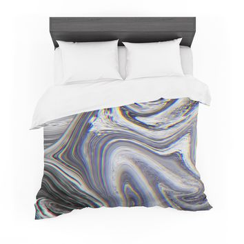 """Tobe Fonseca """"Marble Glitch Pattern II"""" Black White Abstract Digital Mixed Media Featherweight Duvet Cover"""