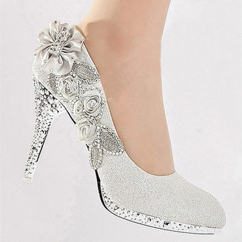Women Glitter Crystal Flower Wedding Bridal Evening Party High Heel Court Shoes silver shoes [7981744071]