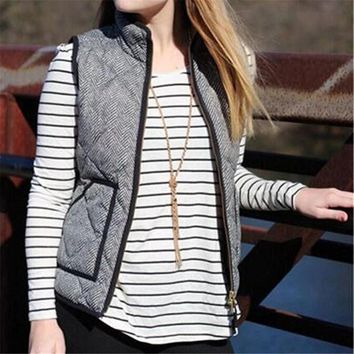 Women Autumn Warm Cotton Excursion Quilted Puffer Herringbone Vest with Zipper
