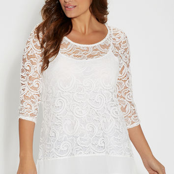plus size lace tunic top with sheer hem