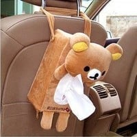 Lolita Lovely Cute Rilakkuma San-X Cute Plush Car Tissue Box Cover w/Strap