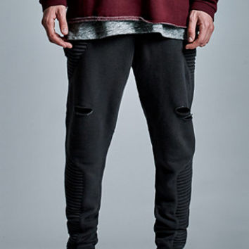 On The Byas The Drop Distressed Moto Jogger Pants at PacSun.com