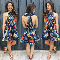 A Tropical Party Dress in Navy