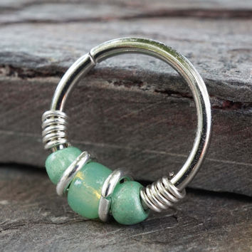 Light Green Teal Beaded Hoop Earrings Or Nose Hoop