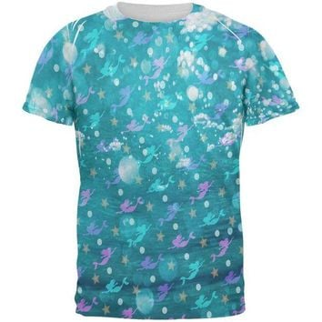 LMFCY8 Mermaids Pearls and Starfish Pattern All Over Mens T Shirt