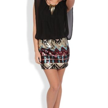 Blouson Dress with Gold Sequin Tribal Print Bodycon Skirt