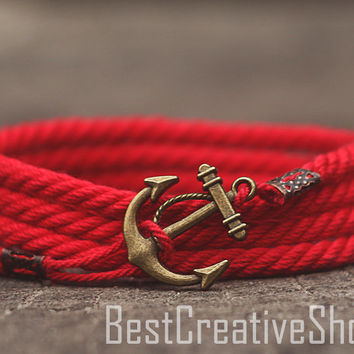 SALE! Anchor Bracelet / Red Bracelet / Sea Nautical Cotton Bracelet / Marine Rope Bracelet / Mens Bracelet Women and Men Rope Bracelet