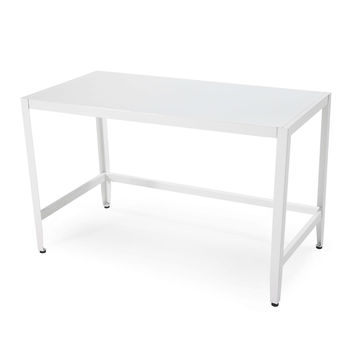 White Metal Home Office Computer Desk Simple Modern Style