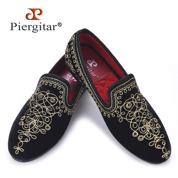 Handmade Embroidered Motif  Paisley Men Velvet Loafer Smoking Slippers Men Wedding Party and Banquet men dress flats