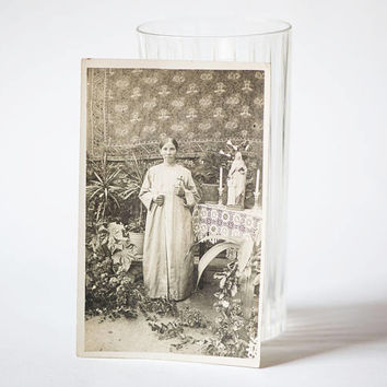 Antique photograph woman in old chapel. Catholic chapel country photo. The church women Mother Mary flowers candle. Authentic 1930s photo