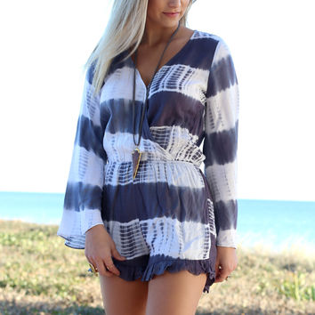 Summer Raine Charcoal Tie Dye Romper With Bell Sleeves