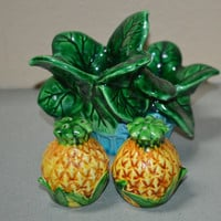 Vintage Pineapple Salt and Pepper Shakers in Holder-Japan
