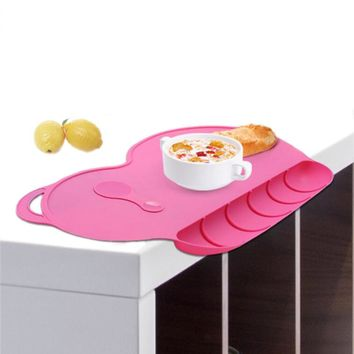 Baby Silicon Plate Sucker Slip-resistant Baby Silicone Placemat Waterproof Snack Mat Food Pocket Kid Dinner Plate Tableware Set
