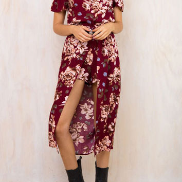 Multicolor Off Shoulder Floral Shorts Lining Front Split Midi Dress