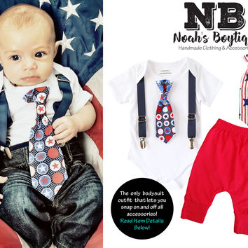 Fourth of July Outfit Baby Boy Star Tie with Suspenders Red and Blue