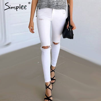 Simplee Summer style white hole ripped jeans Women jeggings cool denim high waist pants capris Female skinny black casual  jeans