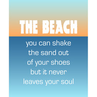 The Beach  poster with beach saying by Visuaria on Etsy