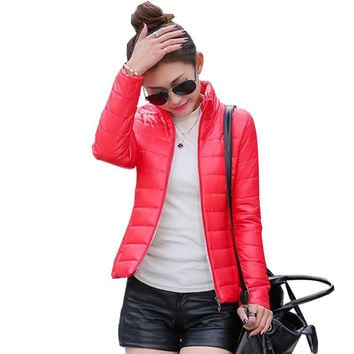 New 2015 women's jacket to keep warm in winter padded silk, ladies fashion casual Slim padded winter jacket
