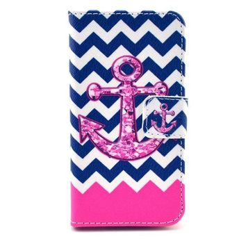 Navy Anchor Print Leather Case Cover Wallet-170928